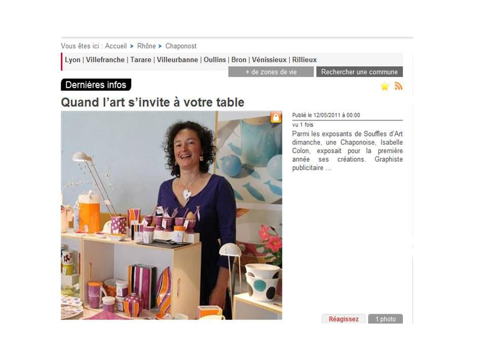 article dans le journal Le Progrès sur Isabelle COMTE peinture sur porcelaine