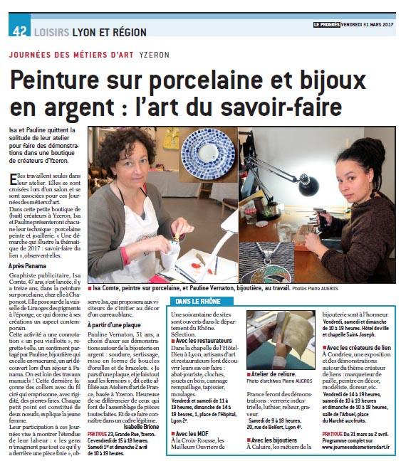 Article sur les cours de peinture sur porcelaine dans le journal Le progrès JEMA
