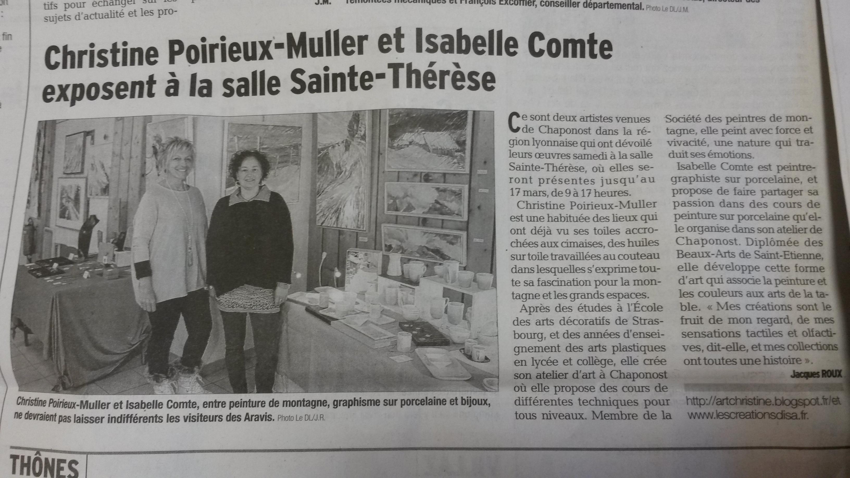 Article dans le journal le Dauphiné libéré