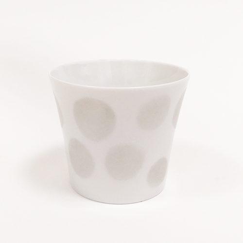 pot à bougie ou coupelle à dessert, en porcelaine, motif pois argent. Peint à la main