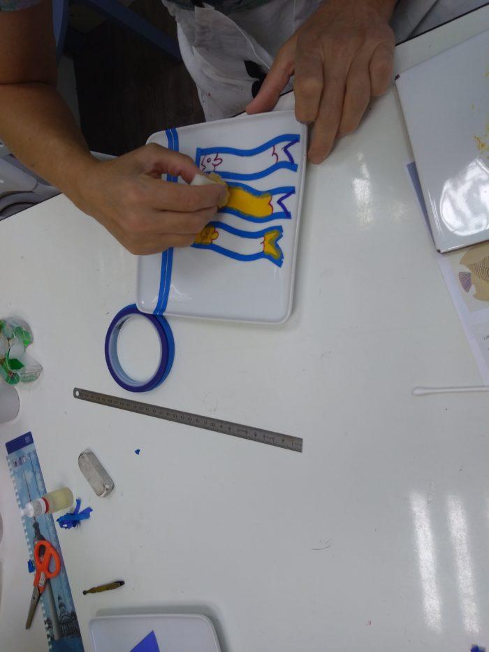 atelier créatif Lyon, peinture sur porcelaine, les créations d'Isa