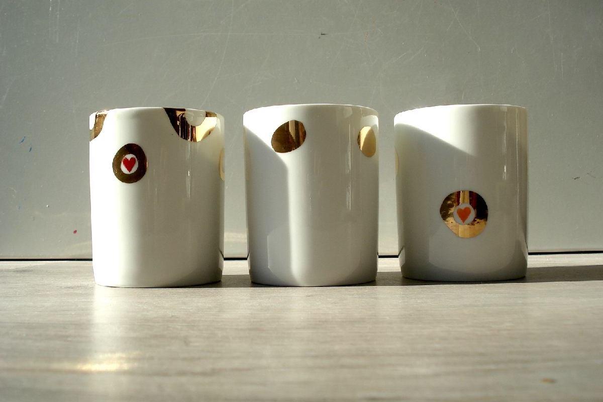 Trois tasses à cafe love