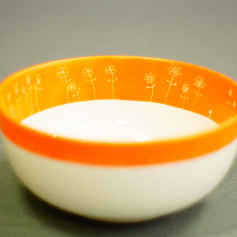 saladier en porcelaine peint à la main, couleur mandarine