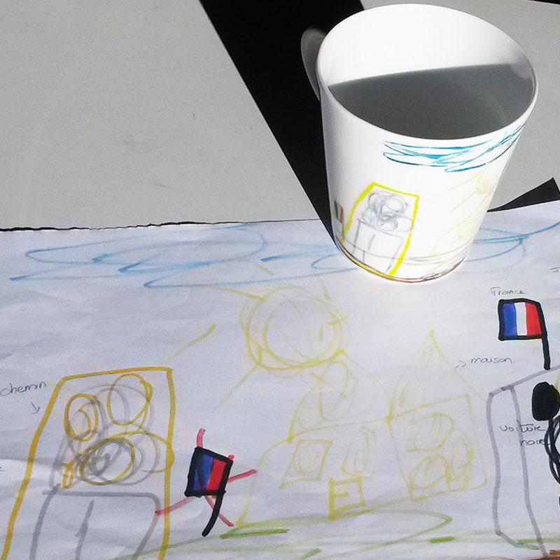 mug en porcelaine peint à la main, dessin d'enfant