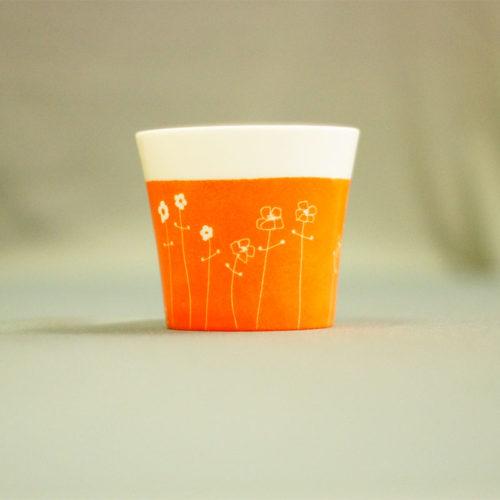 pot à bougie ou coupelle couleur mandarine, peint à la main