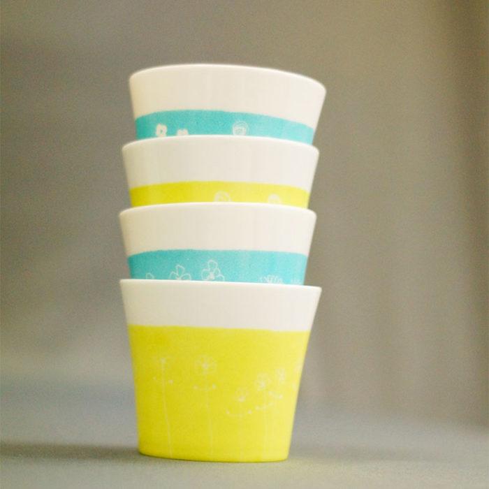 pots à bougie ou coupelles en porcelaine de Limoges, couleurs anis et turquoise