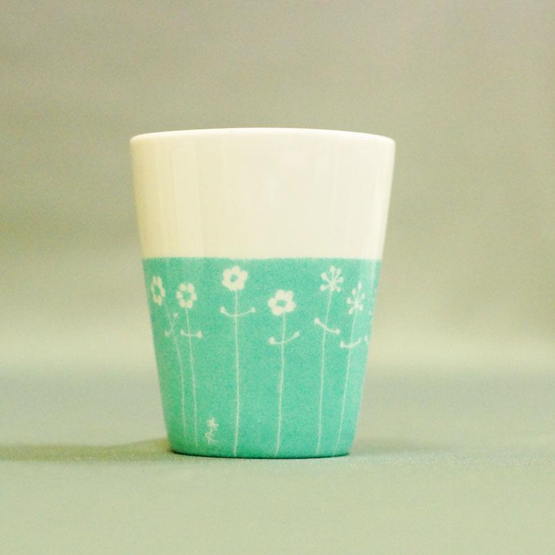 tasse à expresso ou pot à crayon en porcelaine blanche peint à la main, pièce unique