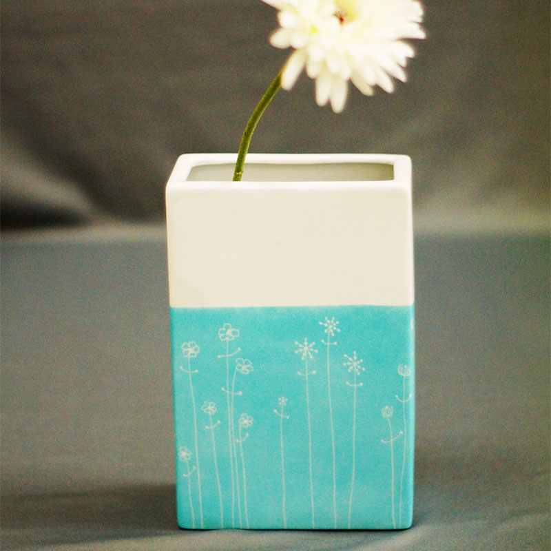 vase rectangulaire en porcelaine peint à la main, couleur turquoise