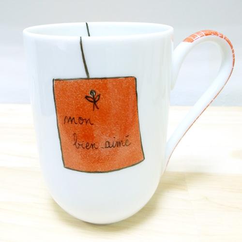Mug en porcelaine de Limoges, peint à la main, couleur mandarine