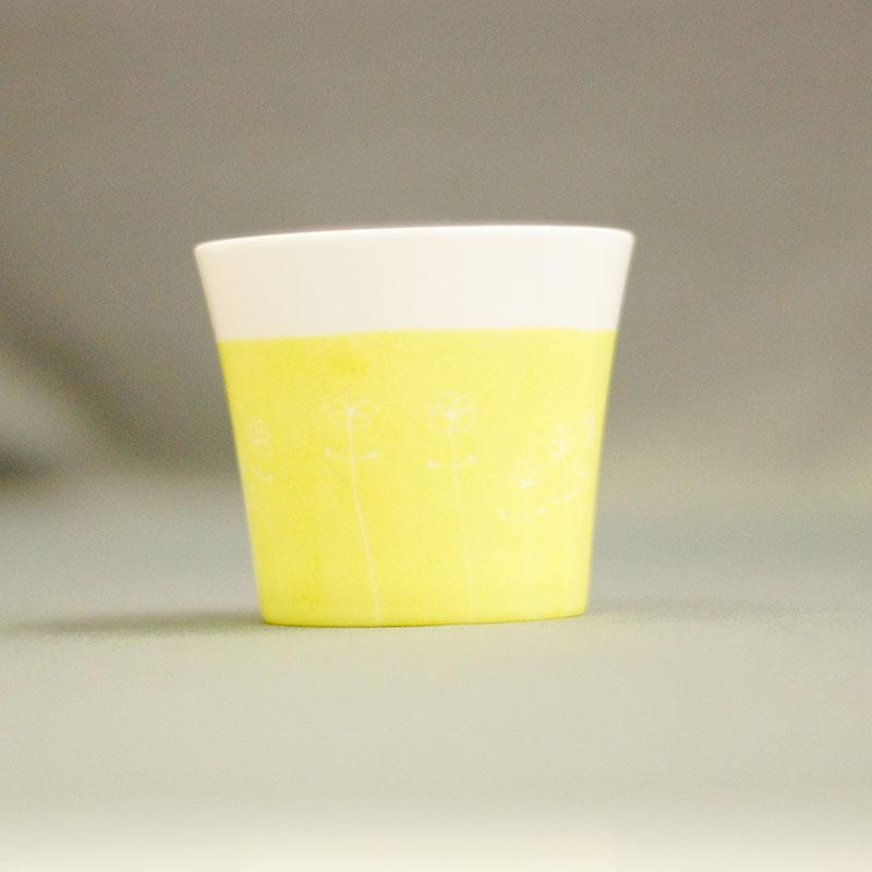 pot à bougie couleur anis en porcelaine peinte à la main, collection bucolique