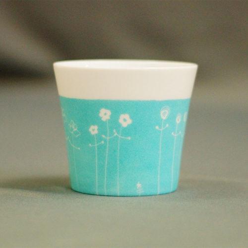 pot à bougie ou gobelet en porcelaine fine, collection bucolique peinte à la main