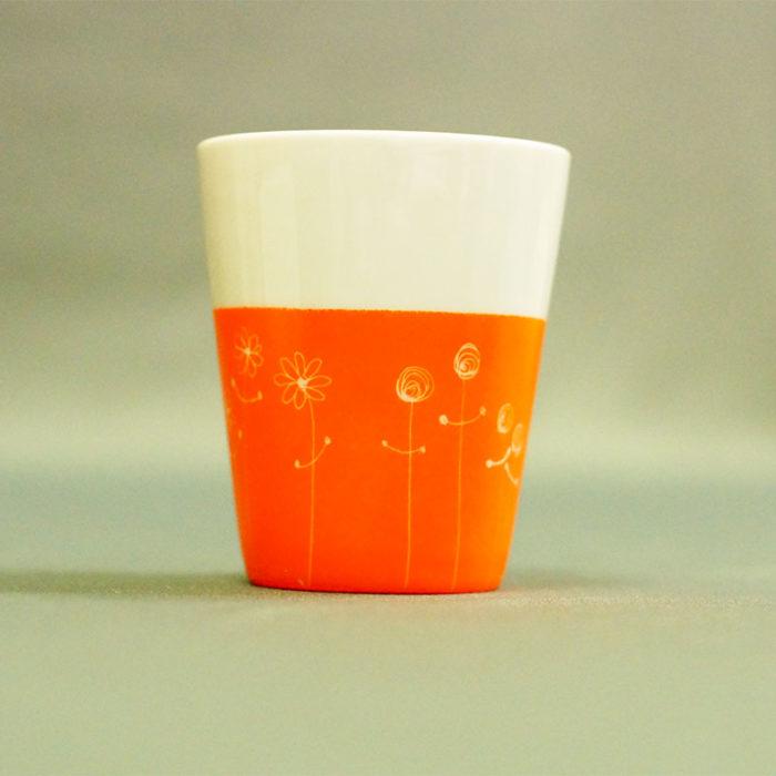 tasse ou gobelet en porcelaine, collection bucolique peinte à la main