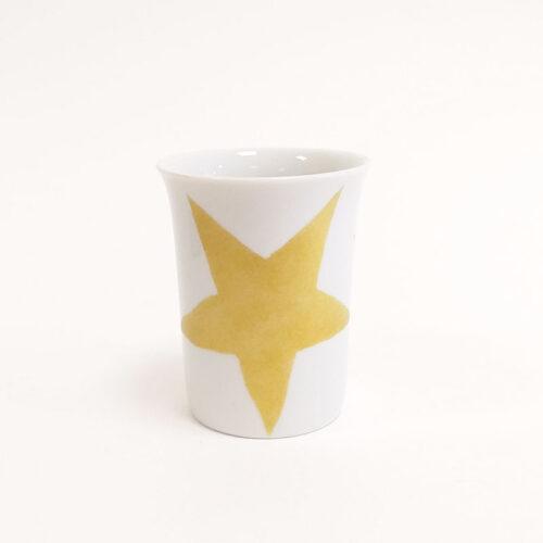 gobelet ou tasse en porcelaine peinte à la main, étoile dorée