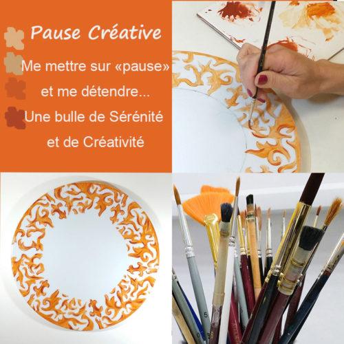 visuel des ateliers pause créative, peinture sur porcelaine à Lyon Brignais