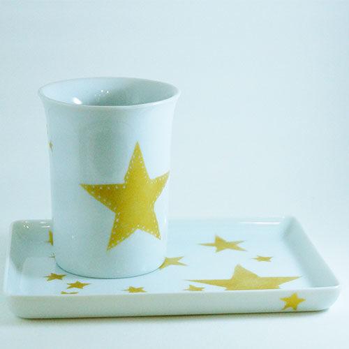 gobelet et plateau Etoile en porcelaine peinte à la main