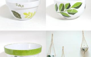 atelier créatif de décor sur porcelaine, suspension et macramé, les créations d'Isa