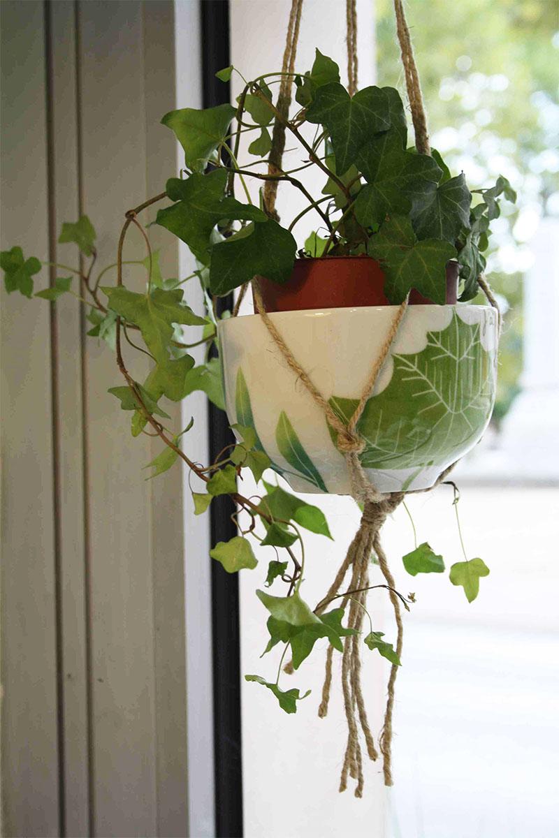 bol en porcelaine pour une suspension de plantes, collection chlorophylle