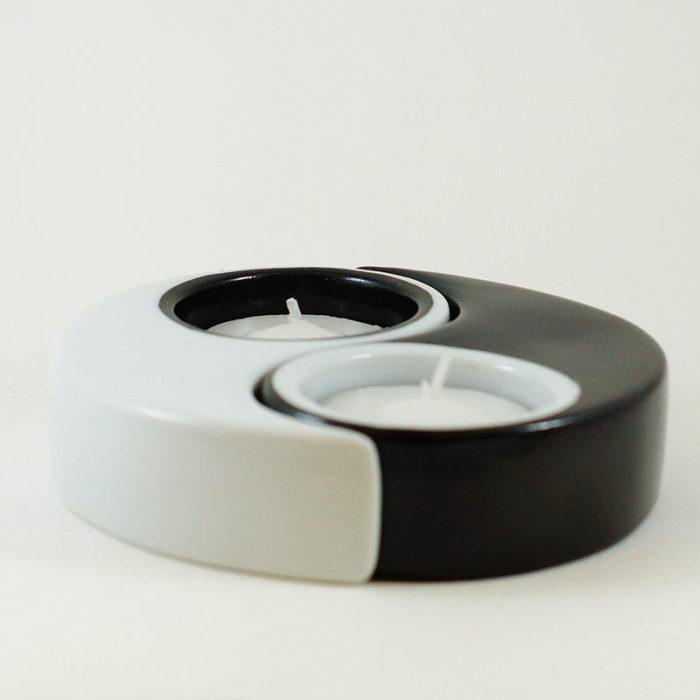 bougeoir Yin et Yang en porcelaine peint à la main collection Black and white