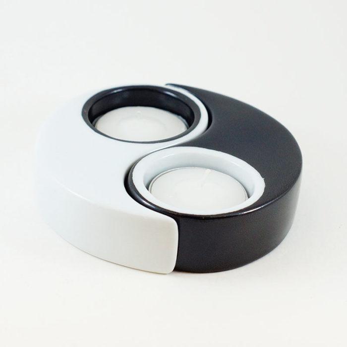 bougeoir ying et yang en porcelaine peinte à la main