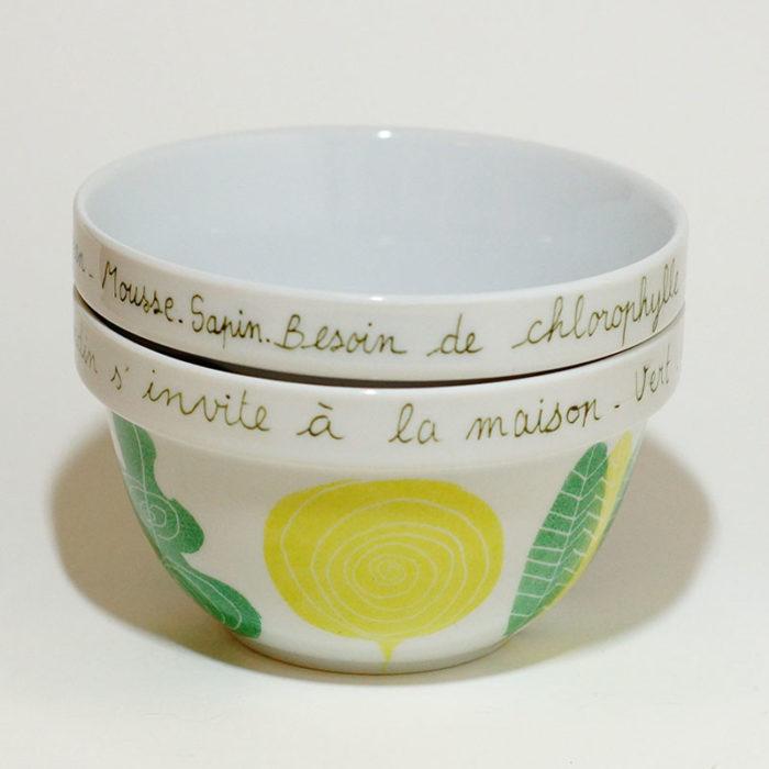 duo de bols empilable en porcelaine, collection chlorophylle, peint à la main
