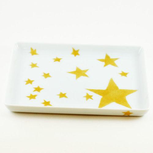 plat, mini format en porcelaine de Limoges peint à la main, étoile dorée