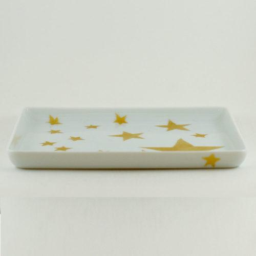 plat mini format en porcelaine de Limoges, collection étoile