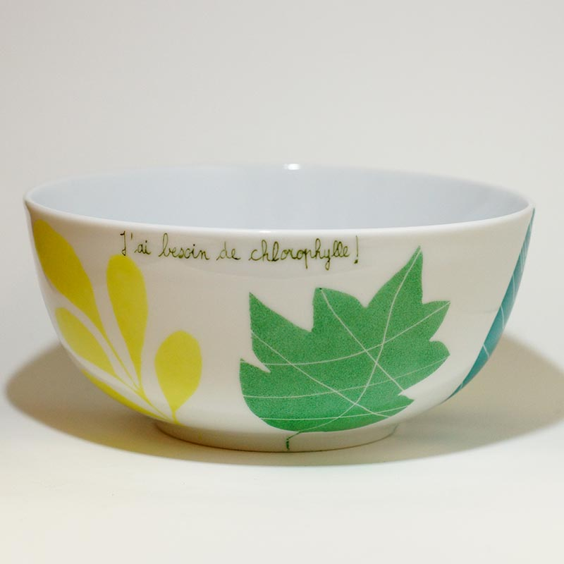 saladier en porcelaine collection chlorophylle peint à la main
