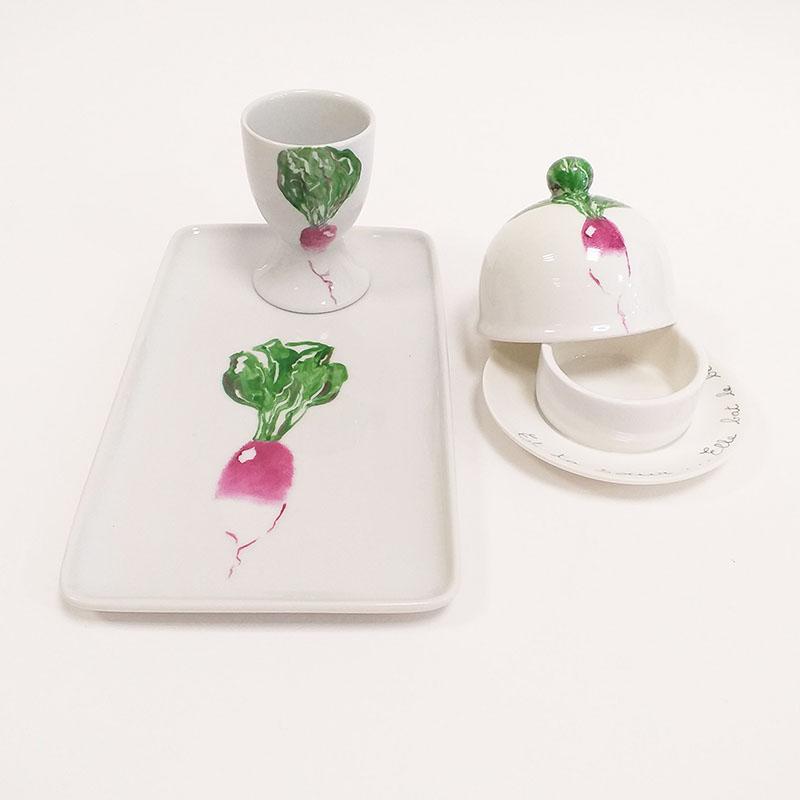cours et atelier de peinture sur porcelaine, ensemble radis