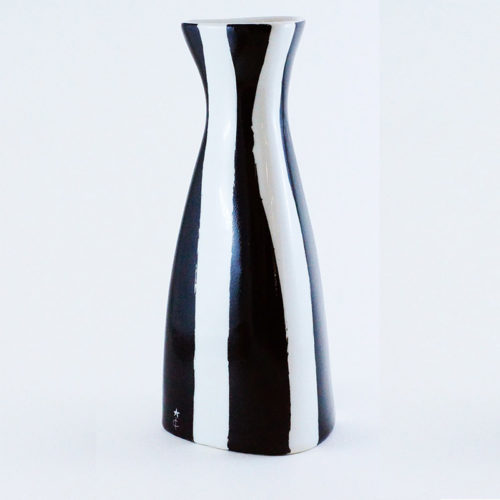 vase en porcelaine collection Black and White, rayures verticales