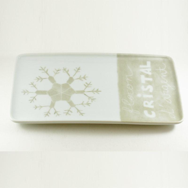plat rectangulaire en porcelaine atelier créatif Flocon