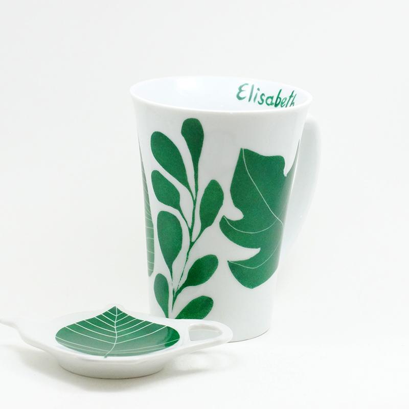 Mug et repose sachet de thé en porcelaine, motif chlorophylle, personnalisé avec le prénom