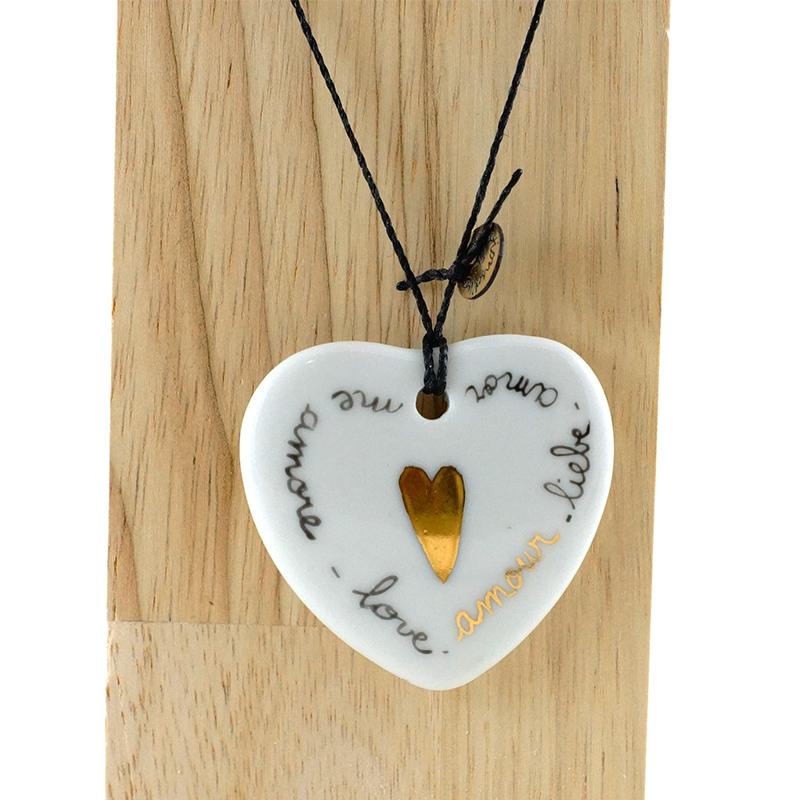 coeur en or et texte en or et noir, message d'amour, peint à la main