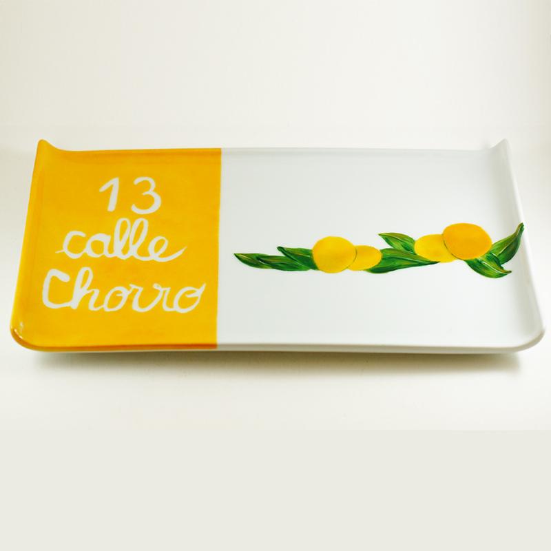 Plat ou plateau en porcelaine, citrons, personnalisation en souvenir de la rue de naissance en Espagne, peint à la main