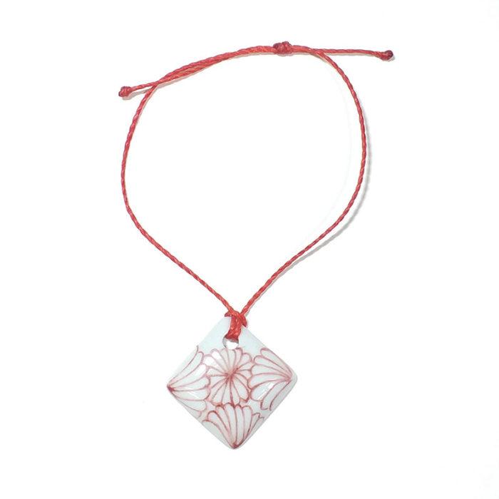 bracelet carré en porcelaine peint à la main, collection fleur du japon