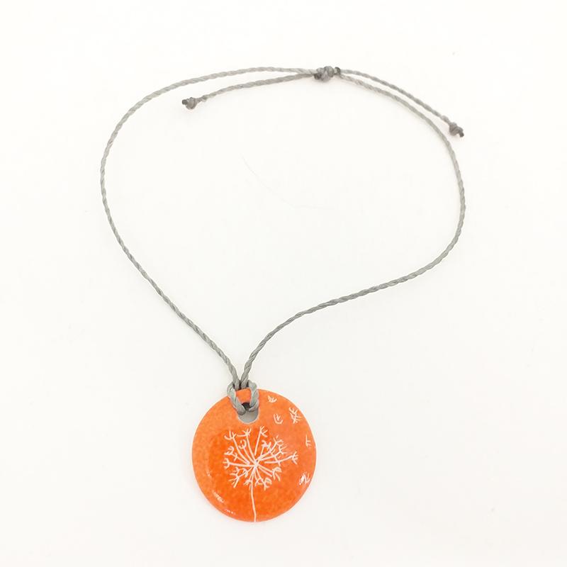 Bracelet rond en porcelaine, couleur mandarine, motif pissenlit peint à la main