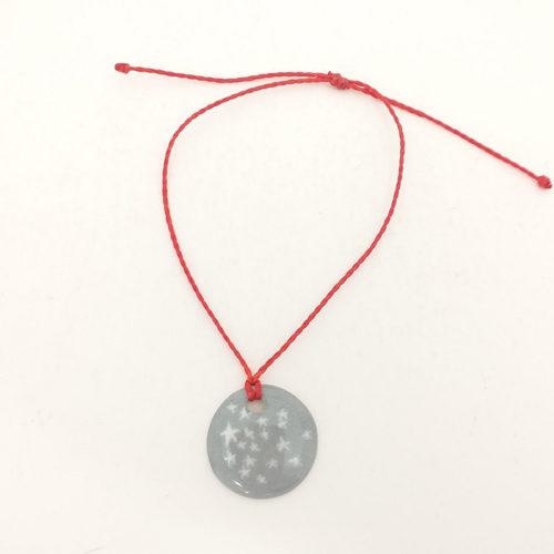 Bracelet en porcelaine peint à la main, motif Etoile gris