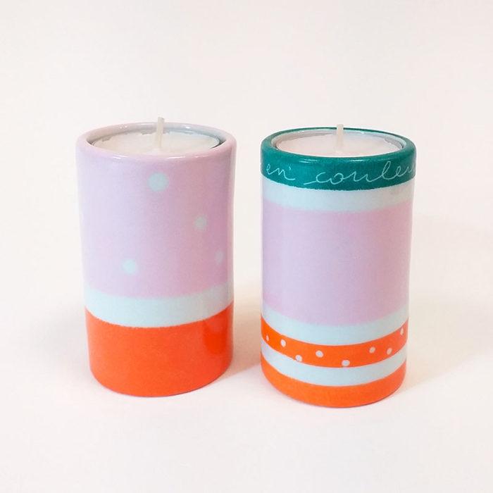 Duo de bougeoirs en porcelaine peint à la main