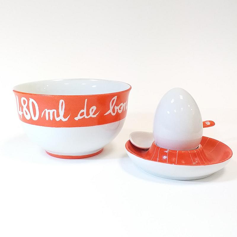 Ensemble bol ou coupelle et coquetier en porcelaine peint à la main, pièce unique