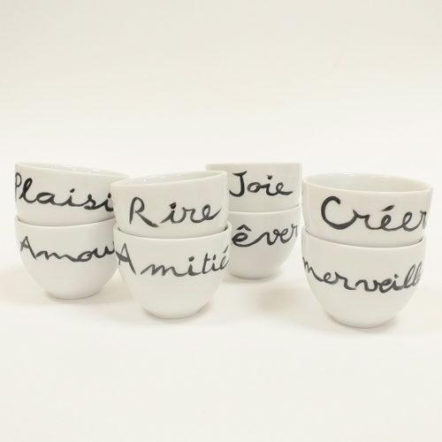 service à café, tasses rondes en porcelaine, porteuse de message, peint à la main