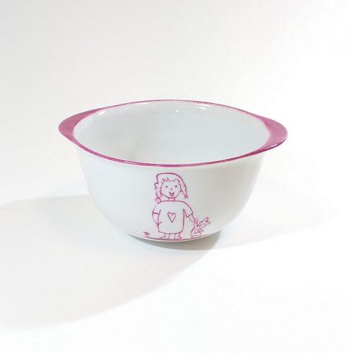 bol breton en porcelaine, motif fillette et doudou. peint à la main