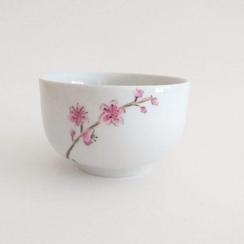 bol en porcelaine, fleur du japon, peint à la main