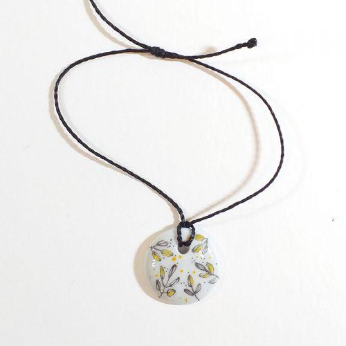 bracelet rond en porcelaine, fine fleur, peint à la main