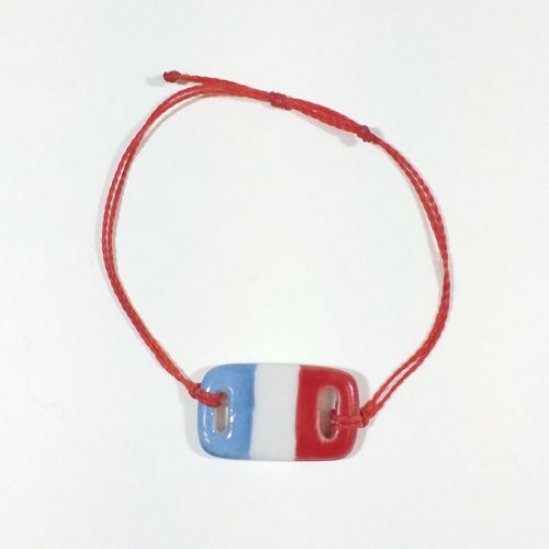 bracelet rectangulaire en porcelaine, collection bleu, blanc rouge, peint à la main