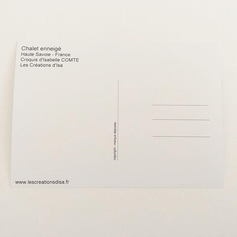 Verso de la carte postale, noir et blanc. Chalet