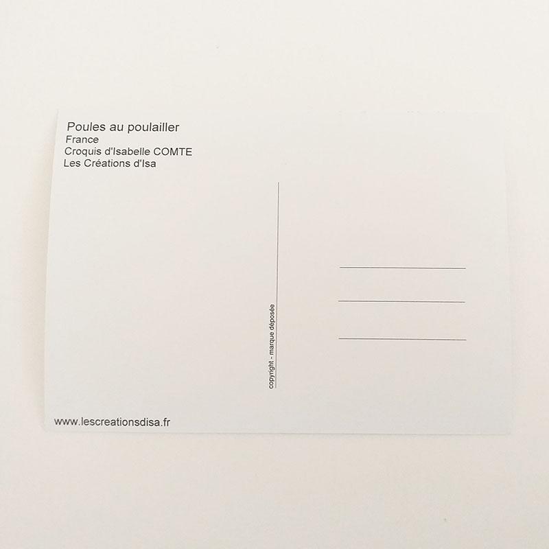 Verso de la carte postale, noir et blanc. Poules