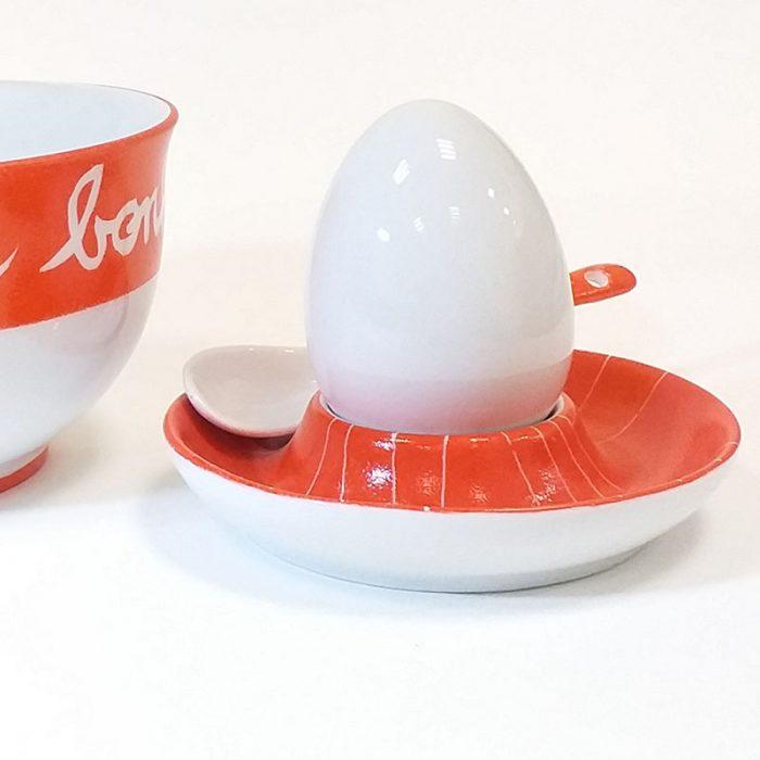 Coquetier en porcelaine collection graphique, petit-dejeuner, peint à la main