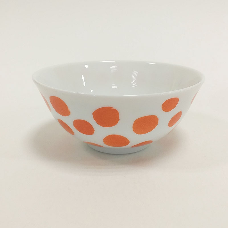 """Coupelle en porcelaine de Limoges, à pois colorés, message. Peint à la main, Collection """" Je vis"""""""