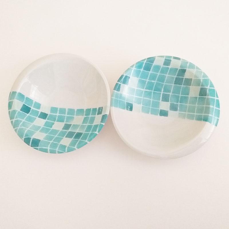 coupelles en porcelaine Collection Aquatic, série PIscine. Peint à la main