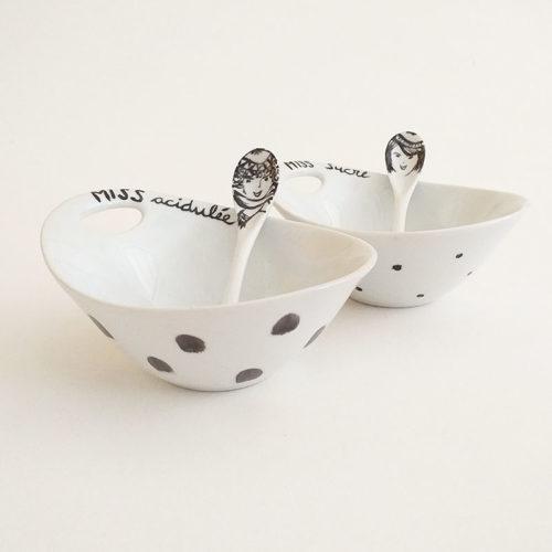 Coupelles en porcelaine de Limoges, Peinte à la main.