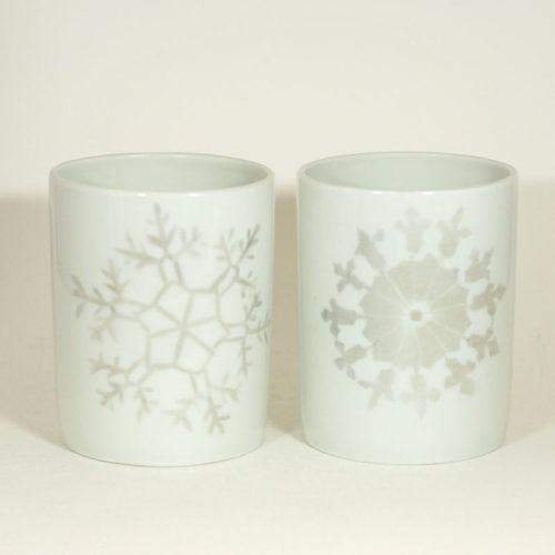 Tasses en porcelaine de Limoges, collection Crystal. Peint à la main